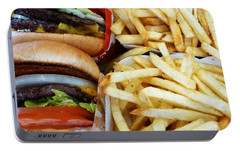 All American Cheeseburgers And Fries Portable Battery Charger by Methune Hively