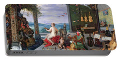 Allegory Of Music Oil On Canvas Portable Battery Charger by Jan the Elder Brueghel
