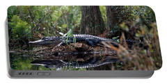 Alligator In Okefenokee Swamp Portable Battery Charger by William H. Mullins