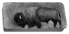 Monochrome American Buffalo 3  Portable Battery Charger by Hailey E Herrera