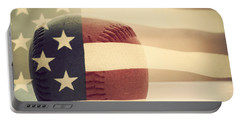 Americana Baseball  Portable Battery Charger by Terry DeLuco