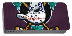 Anaheim Ducks Hockey Team Retro Logo Vintage Recycled California License Plate Art Portable Battery Charger by Design Turnpike