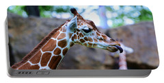 Animal - Giraffe - Sticking Out The Tounge Portable Battery Charger by Paul Ward