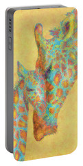 Aqua And Orange Giraffes Portable Battery Charger by Jane Schnetlage