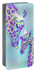 Aqua And Purple Loving Giraffes Portable Battery Charger by Jane Schnetlage
