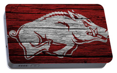 Arkansas Razorbacks On Wood Portable Battery Charger by Dan Sproul