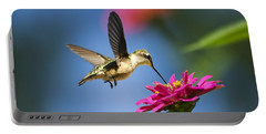 Art Of Hummingbird Flight Portable Battery Charger by Christina Rollo