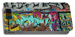 Artistic Graffiti On The U2 Wall Portable Battery Charger by Panoramic Images