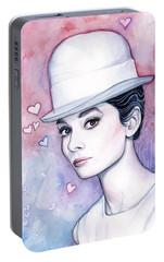 Audrey Hepburn Fashion Watercolor Portable Battery Charger by Olga Shvartsur