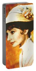 Audrey Hepburn - Impressionism Portable Battery Charger by Georgiana Romanovna