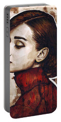 Audrey Hepburn Portable Battery Charger by Olga Shvartsur