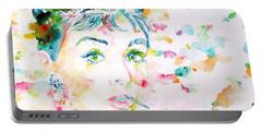 Audrey Hepburn  Watercolor Portrait.3 Portable Battery Charger by Fabrizio Cassetta