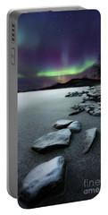 Aurora Borealis Over Sandvannet Lake Portable Battery Charger by Arild Heitmann