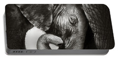 Baby Elephant Seeking Comfort Portable Battery Charger by Johan Swanepoel
