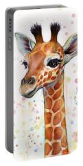 Baby Giraffe Watercolor  Portable Battery Charger by Olga Shvartsur
