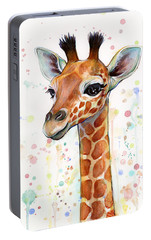 Baby Giraffe Watercolor  Portable Battery Charger by Olga Shvartsur