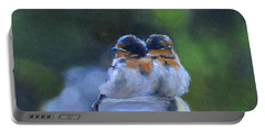 Baby Swallows On Post Portable Battery Charger by Donna Tuten