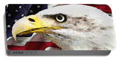 Bald Eagle Art - Old Glory - American Flag Portable Battery Charger by Sharon Cummings