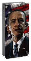Barack Obama Portable Battery Charger by Andre Koekemoer
