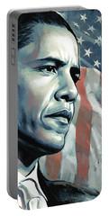 Barack Obama Artwork 2 B Portable Battery Charger by Sheraz A