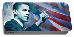 Barack Obama Artwork 2 Portable Battery Charger by Sheraz A