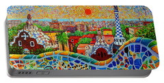 Barcelona View At Sunrise - Park Guell  Of Gaudi Portable Battery Charger by Ana Maria Edulescu