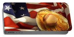 Baseball Portable Battery Charger by Les Cunliffe