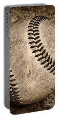 Baseball Old And Worn Portable Battery Charger by Paul Ward