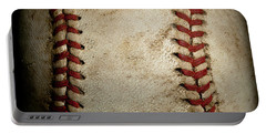 Baseball Seams Portable Battery Charger by David Patterson