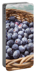 Basket Of Fresh Picked Blueberries Portable Battery Charger by Edward Fielding