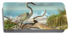 Beach Egret Portable Battery Charger by Daniel Eskridge