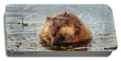 Beaver Portrait On Canvas Portable Battery Charger by Dan Sproul