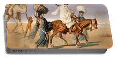 Bedouin Family Travels Across The Desert Portable Battery Charger by Henri de Montaut