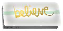 Believe In Mint And Gold Portable Battery Charger by Linda Woods