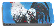 Black And White Rooster On Blue  Portable Battery Charger by Jan Matson
