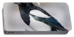 Black-billed Magpie Portable Battery Charger by Eric Glaser