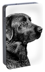 Black Labrador Retriever Dog Monochrome Portable Battery Charger by Jennie Marie Schell