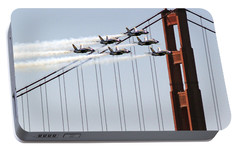 Blue Angels And The Bridge Portable Battery Charger by Bill Gallagher