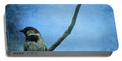 Sparrow On Blue Portable Battery Charger by Dan Sproul