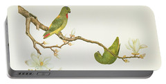 Blue Crowned Parakeet Hannging On A Magnolia Branch Portable Battery Charger by Chinese School
