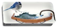 Blue Jay At Heated Birdbath Portable Battery Charger by Steve and Dave Maslowski