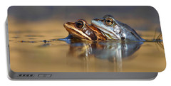 Blue Love ... Mating Moor Frogs  Portable Battery Charger by Roeselien Raimond