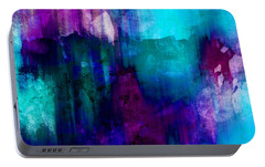 Blue Rain  Abstract Art   Portable Battery Charger by Ann Powell