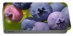 Blueberries Portable Battery Charger by Sharon Talson