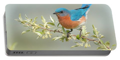 Bluebird Floral Portable Battery Charger by William Jobes