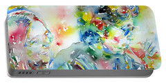 Bob Dylan And Joan Baez Watercolor Portrait.1 Portable Battery Charger by Fabrizio Cassetta