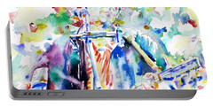 Bob Dylan Playing The Guitar - Watercolor Portrait.1 Portable Battery Charger by Fabrizio Cassetta