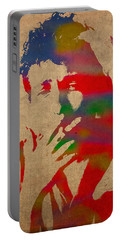 Bob Dylan Watercolor Portrait On Worn Distressed Canvas Portable Battery Charger by Design Turnpike