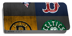 Boston Sports Fan Recycled Vintage Massachusetts License Plate Art Patriots Red Sox Bruins Celtics Portable Battery Charger by Design Turnpike