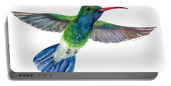 Broadbilled Fan Tail Hummingbird Portable Battery Charger by Amy Kirkpatrick
